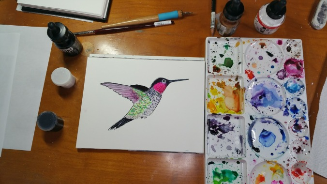 Ink and Watercolor Hummingbird