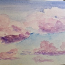 Watercolor cloud sketch done while we were at playground.
