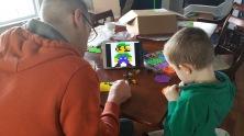 Big Lou and Little Lou make a pixel Luigi, while Gene and I make a Pikachu.
