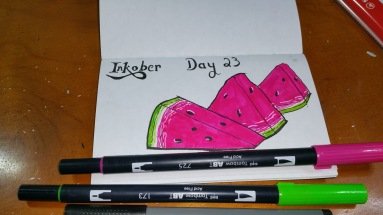 Inktober Day 23 Juicy. Technical Pen and marker.