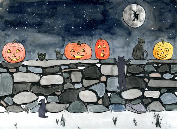 The Witches' black cats party on Halloween!