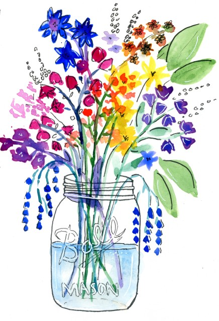 QoR Watercolor and ink flowers in a mason jar.