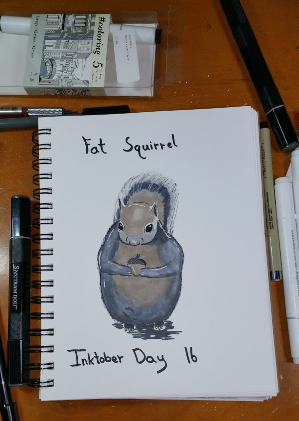 Fat Squirrel for Inktober Day Sixteen.
