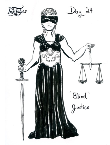 Lady Justice was done in the Pentel Pocket Brush Pen and Micron Pen.