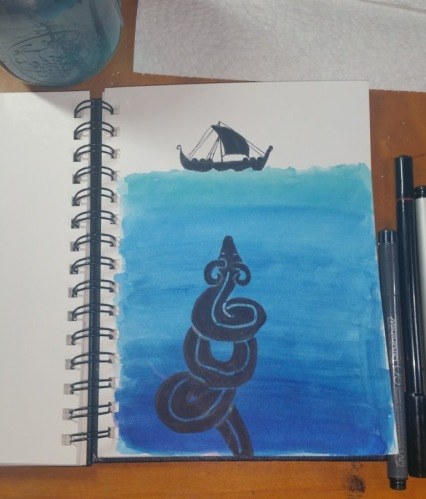 The Midgard Serpent and a Viking Knarr for Inktober day 25 ship
