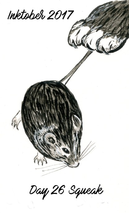 A mouse caught by a cat. Brush and technical pens with markers.