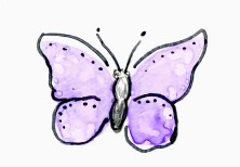 Butterfly on Yupo Purple Tombow and Crome Molotow markers