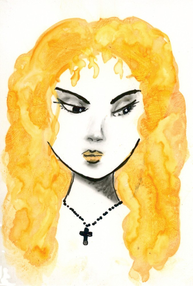 Grumpy girl on Yupo 4B Pencil, Orange Tombow, and Chrome Molotow markers