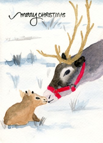 Christmas Card Mother and Baby Reindeer
