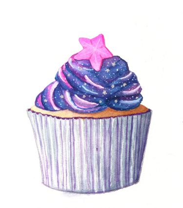 Watercolor Galaxy Cupcake withMolotow Liquid Chrome acsents