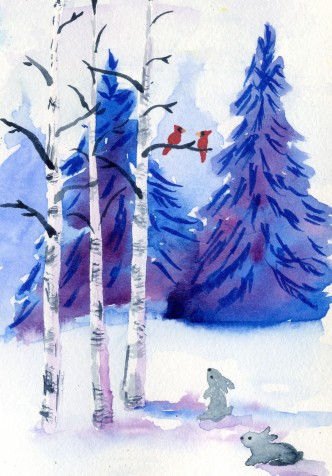 Two Cardinals in Birch Stand with Spectrum Noir Sparkle Glitter Brush and watercolor.