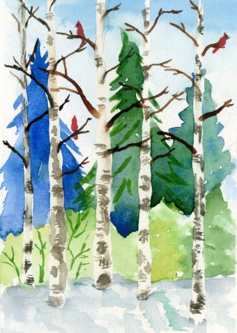 Cardinals in Birch Stand with Spectrum Noir Sparkle Glitter Brush and watercolor.