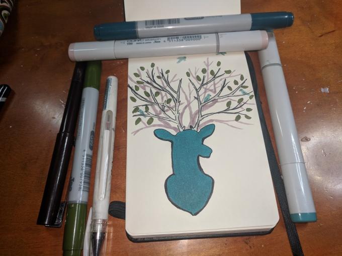 Sketchbox Doodle Deer with Tree Antlers