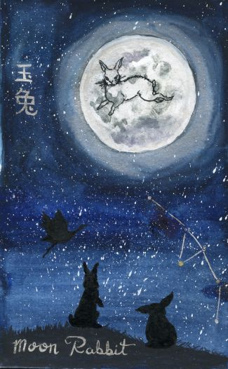 The rabbit in the moon is based on an illustration from Journey to the West. https://www.roningallery.com/education/a-closer-look-jade-rabbit-and-sun-wukong/ I tried to write the charters for Jade Rabbit to the best of my ability but I am not all that knowledgeable on the topic of Chinese calligraphy so if anyone notices a slip up please let me know.