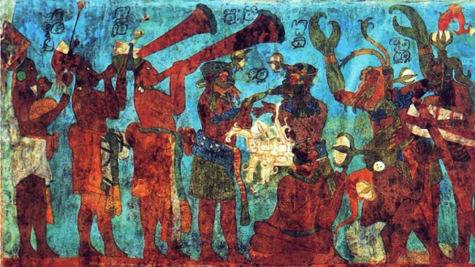 Bonampak_mural._Room_1._Musicians_and_dancers