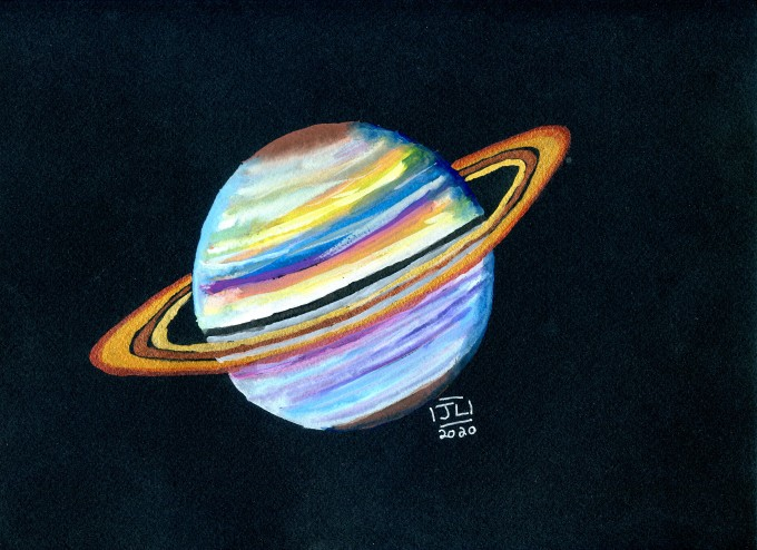 Jupiter done in a colorful style